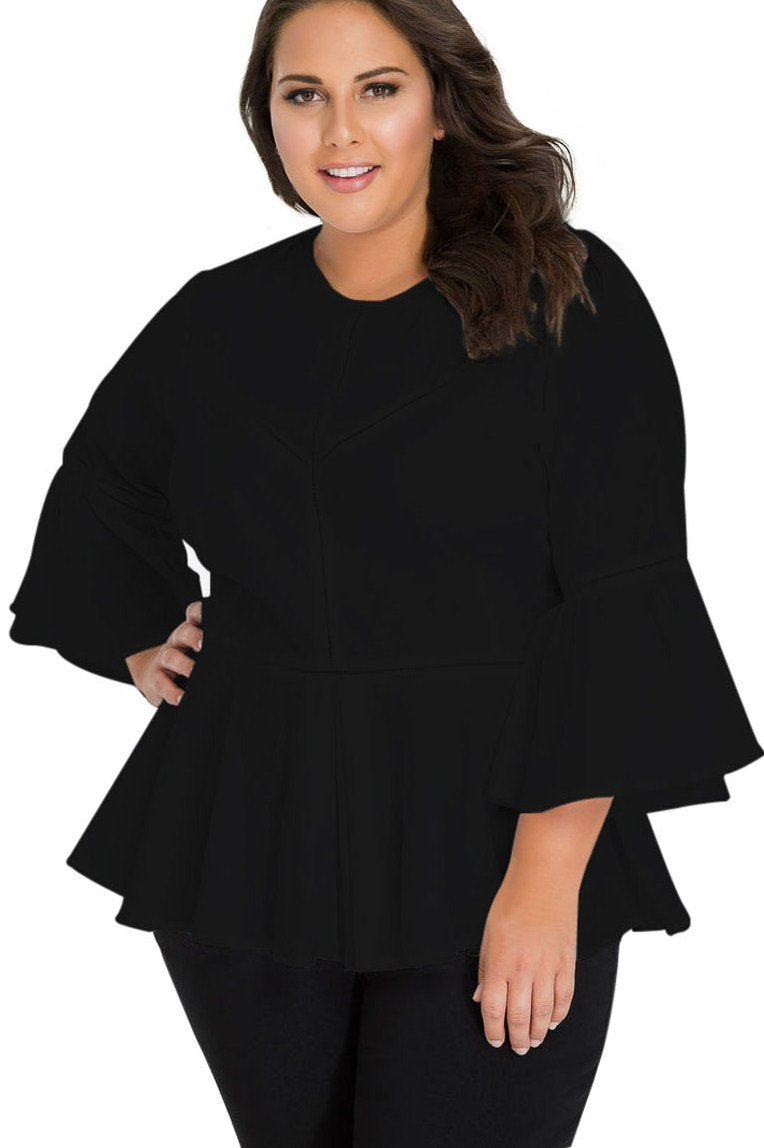 Black Crochet Insert Bell Sleeve Plus Size Top - Winter Haven Co
