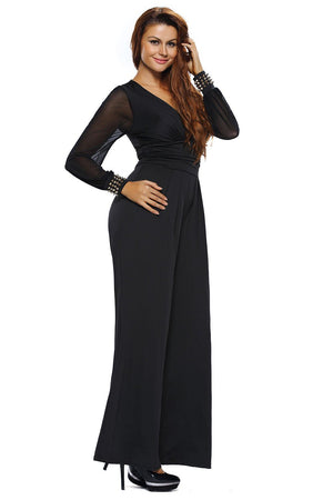 Black Embellished Cuffs Mesh Long Sleeves Wide Leg Jumpsuit - Winter Haven Co