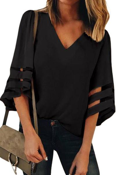 Black Flare Sleeve V Neck Loose Women's Chiffon Blouse - Winter Haven Co