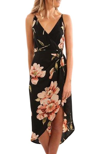 Black Floral Print High Low Boho Dress - Winter Haven Co