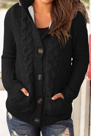 Black Fur Hood Cable Knit Cardigan Sweater - Winter Haven Co