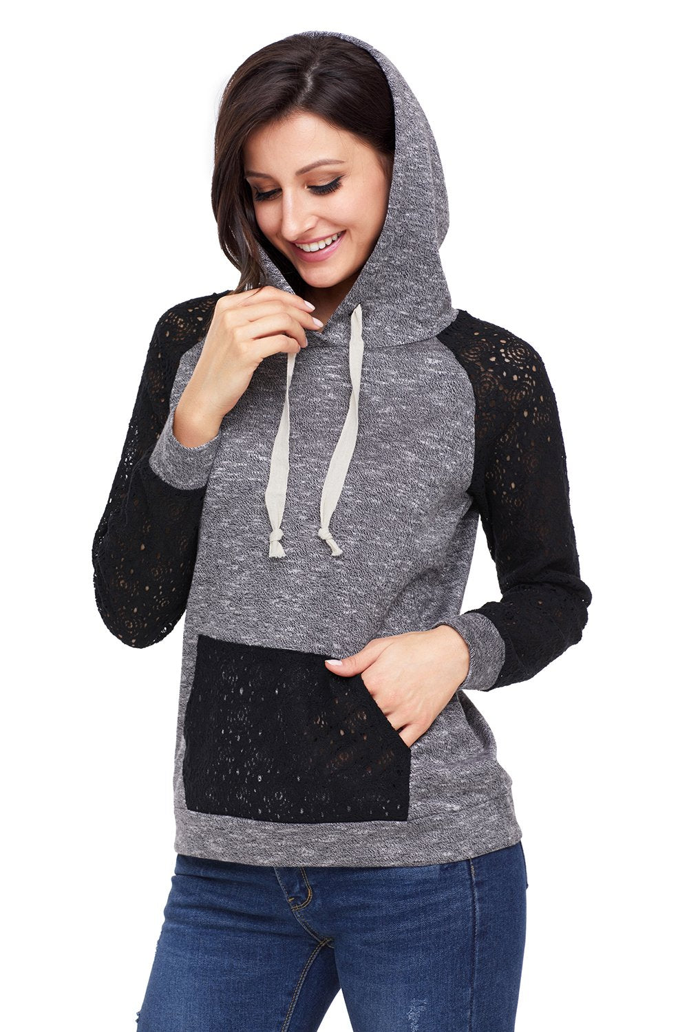 Black Gray Lace Accent Kangaroo Pocket Hoodie - Winter Haven Co