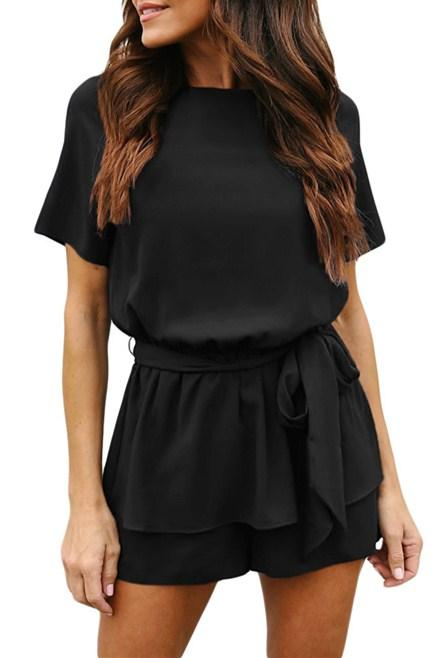 Black Half Sleeves Peplum Waist Short Romper - Winter Haven Co