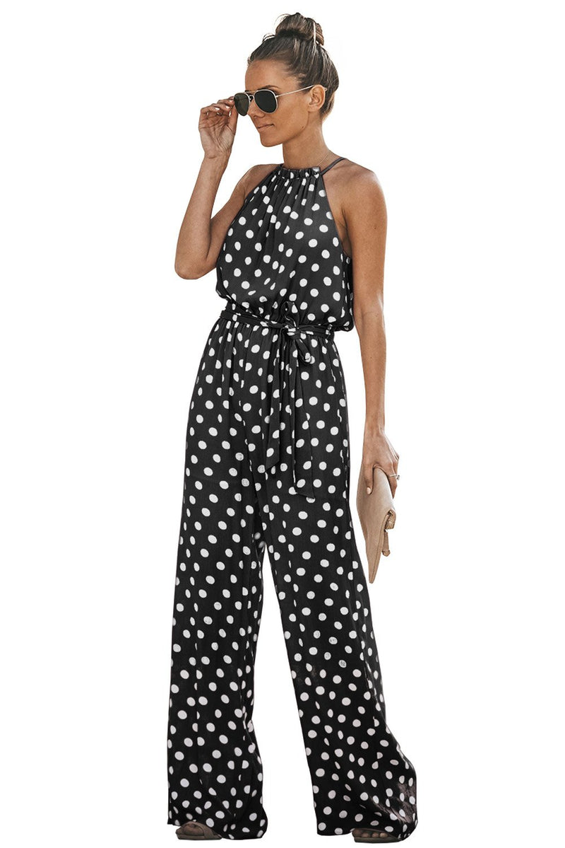 Black Halter Pretty Little Polka Dot Jumpsuit - Winter Haven Co