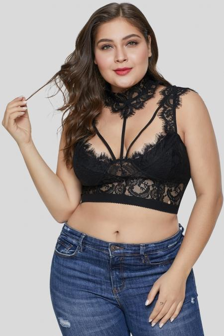 Black Hollow-out Lace Choker Plus Size Crop Top - Winter Haven Co
