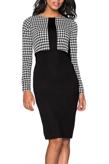Black Houndstooth Patchwork Office Pencil Midi Dress - Winter Haven Co