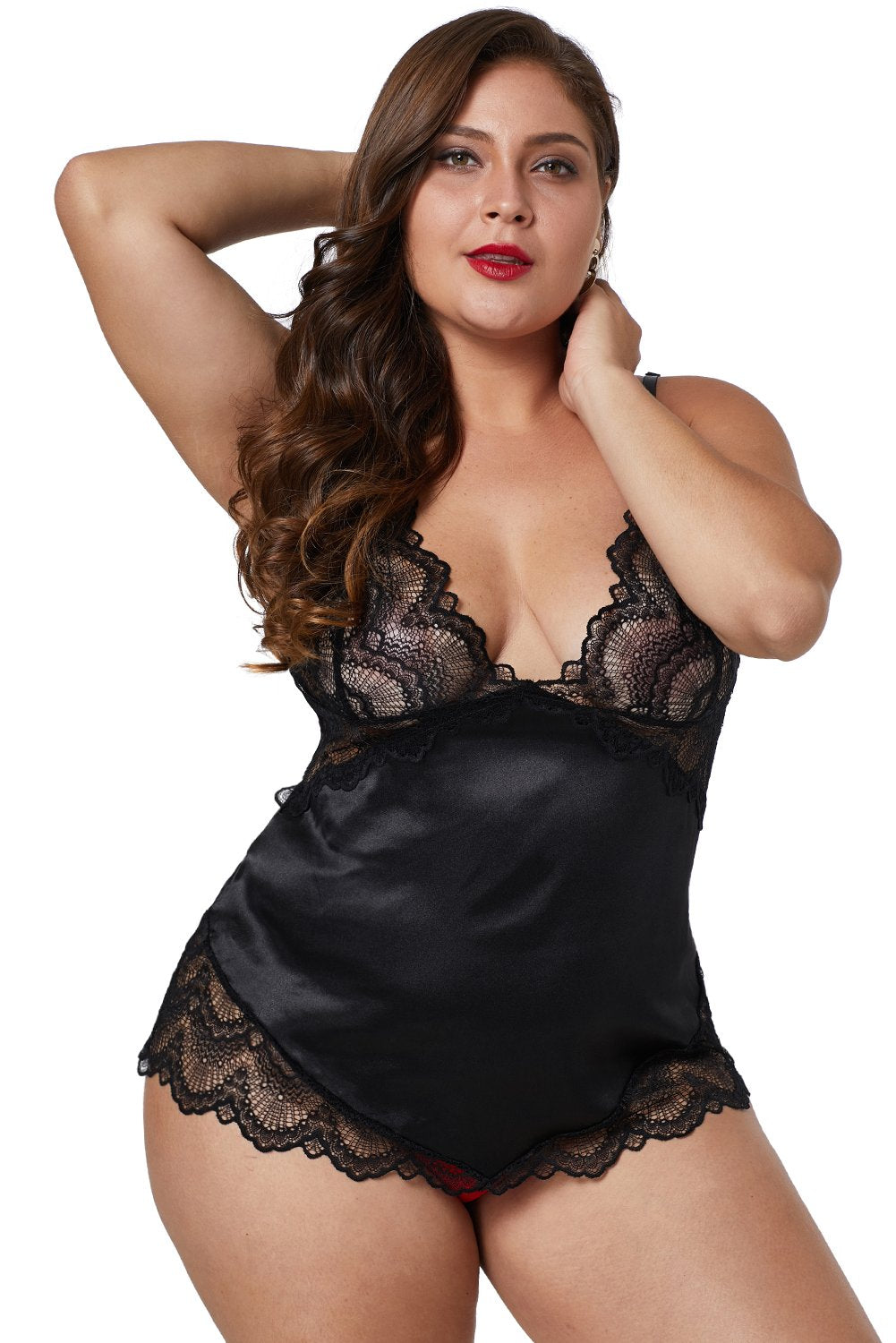 Black Lace Cups Silky Satin Sexy Plus Size Chemise - Winter Haven Co