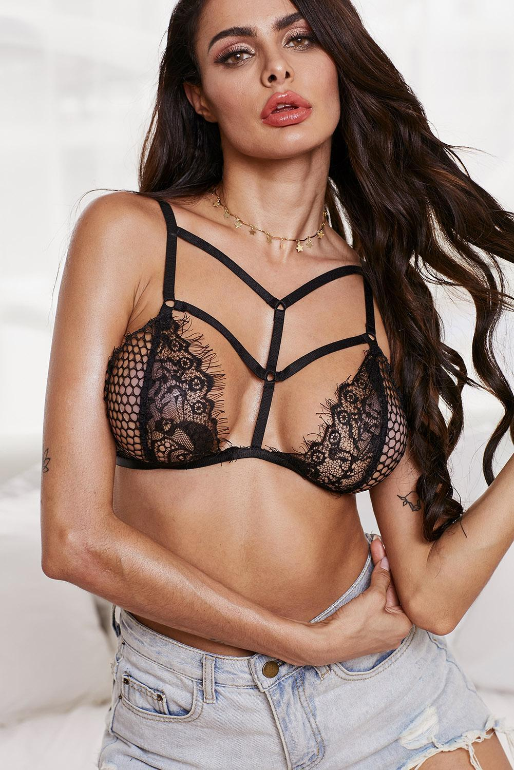 Black Lace Hollow Out Harness Bralet - Winter Haven Co