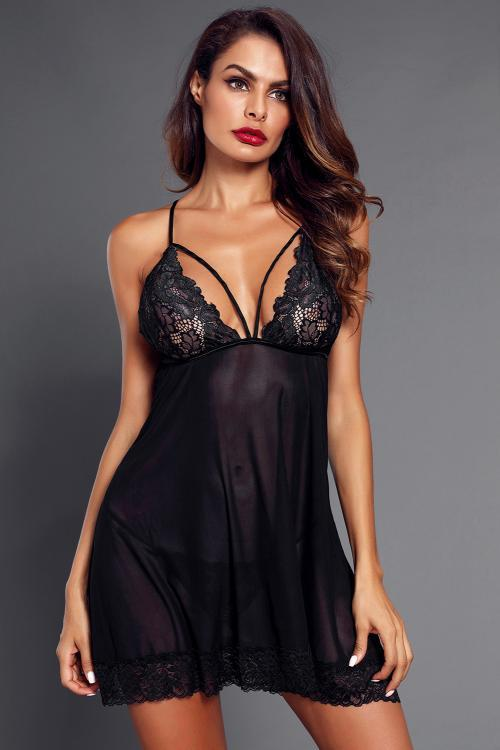 Black Low Back Crisscross Lace Trim Babydoll Lingerie