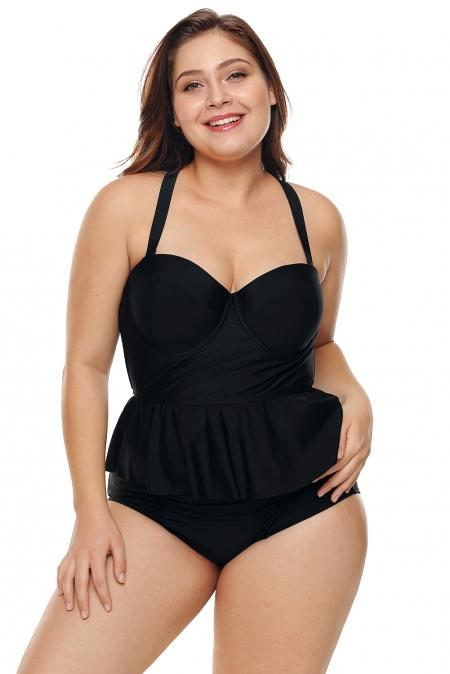 Black Moulded Cups Peplum High Waist Plus Size Bikini Set - Winter Haven Co