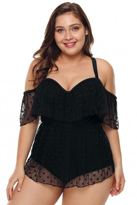 Black Off Shoulder Mesh Sheer Plus Size One Piece Swimsuit - Winter Haven Co
