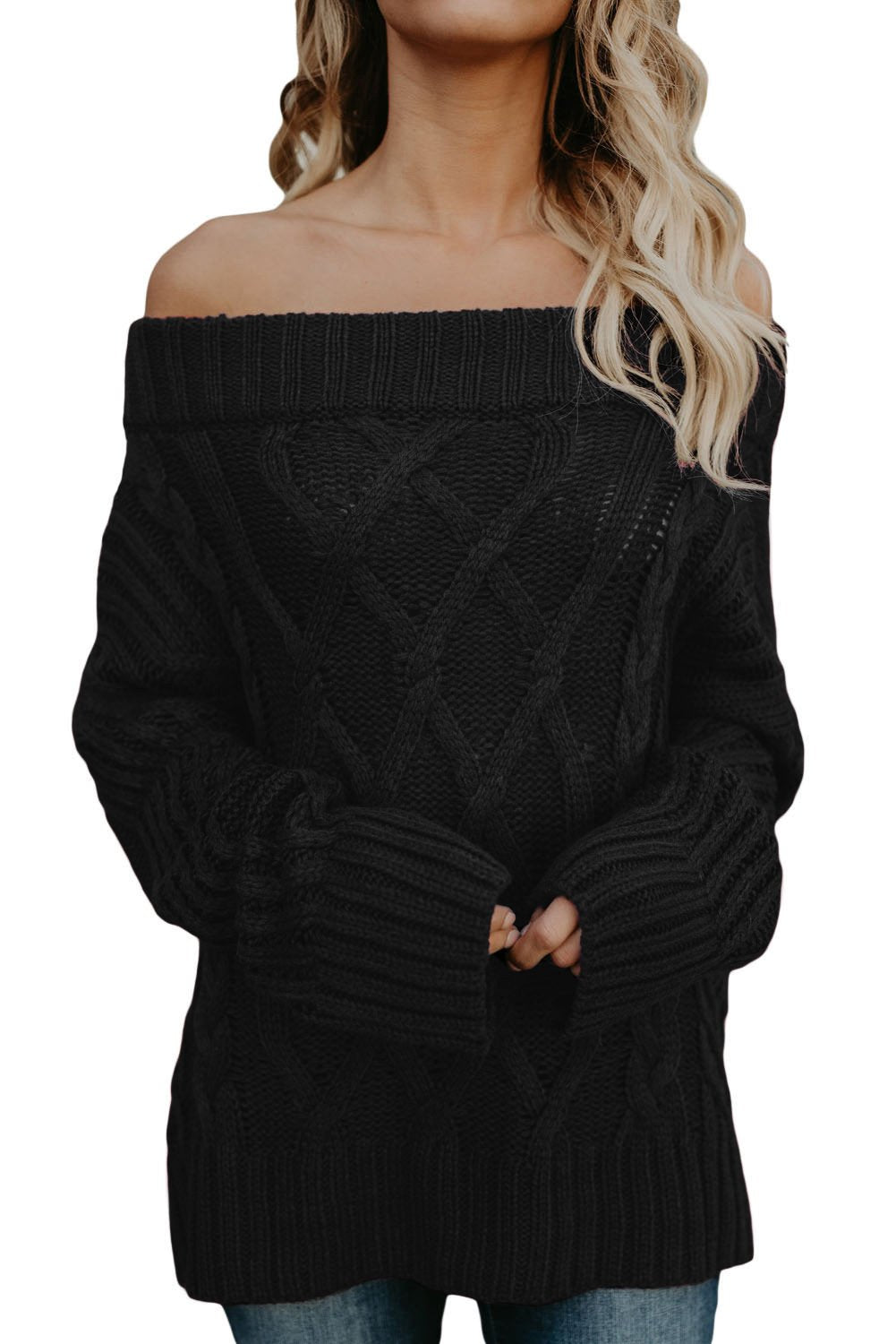 Fashion Black Off The Shoulder Winter Sweater - Winter Haven Co