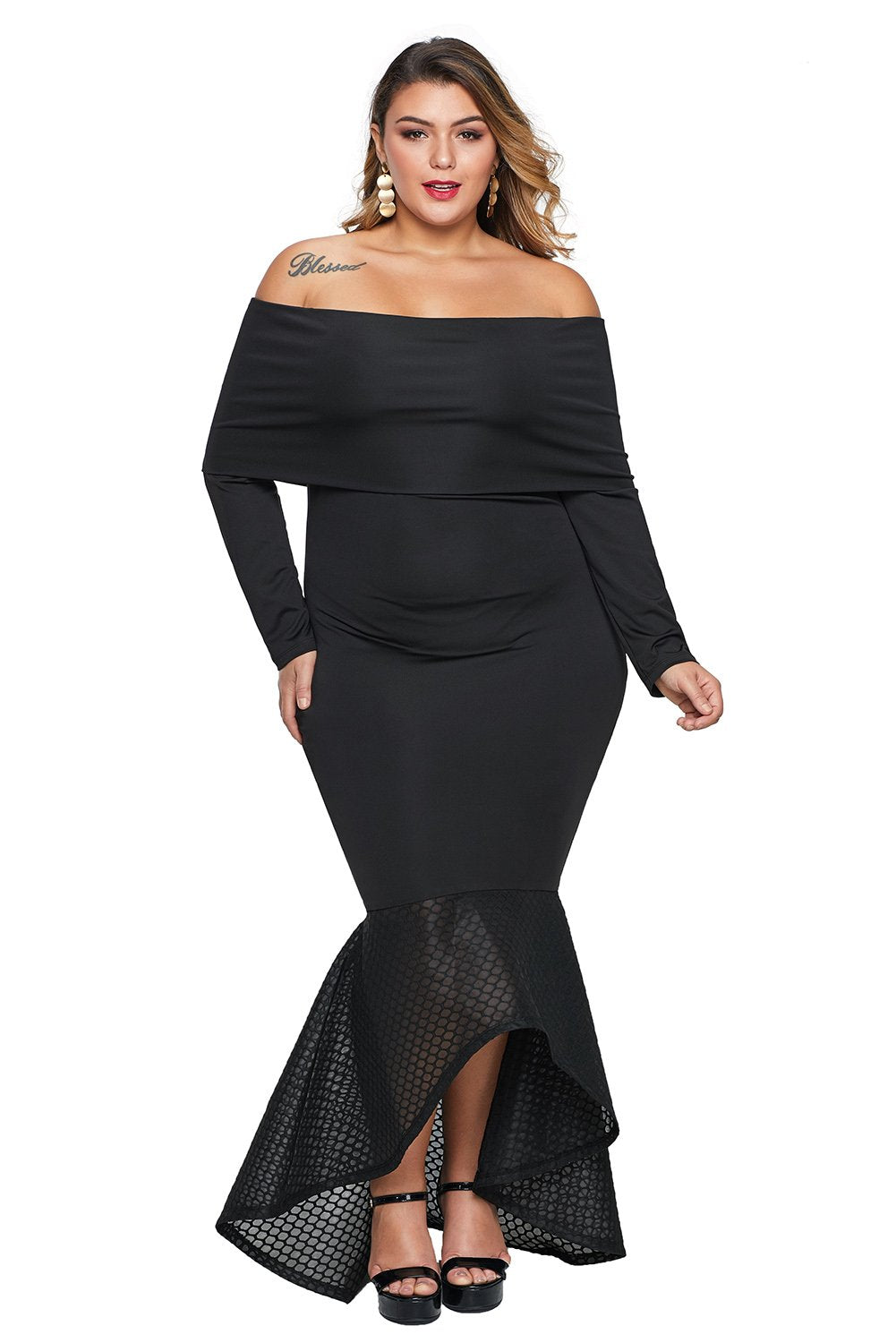 Black Overlay Off Shoulder Fishtail Plus Size Maxi Party Dress - Winter Haven Co