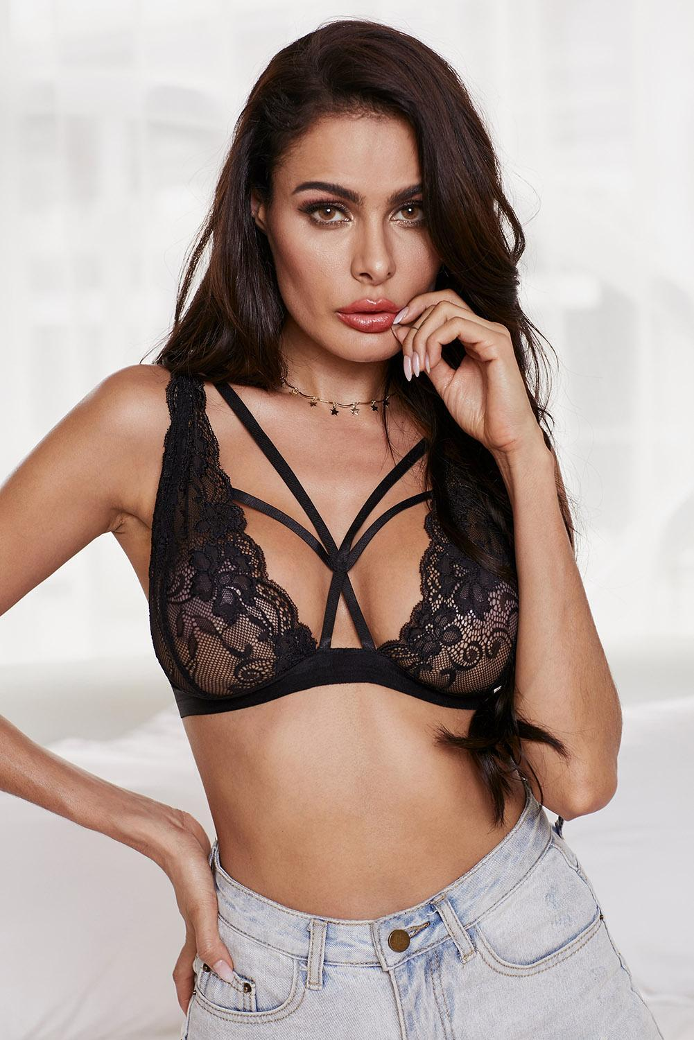 Black Seductive Lace Patchwork Front Crisscross Bralette - Winter Haven Co