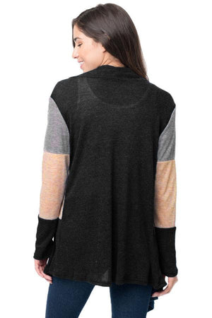 Black Shawl Neck Colorblock Long Sleeve Cardigan - Winter Haven Co