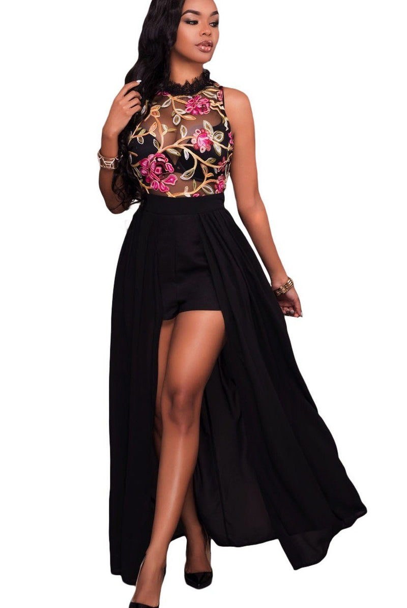 Black Sheer Mesh Floral Embroidery Chiffon Romper Maxi Dress - Winter Haven Co