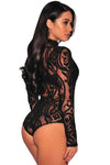 Black Sheer Mesh Pattern High Neck Long Sleeve Bodysuit - Winter Haven Co