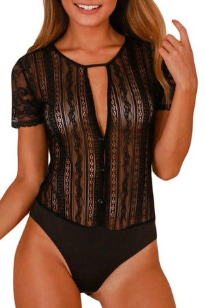 Black Short Sleeve Button Front Sheer Lace Bodysuit - Winter Haven Co