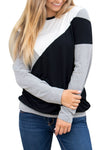 Black Shoulder Slope Trio Color Block Shirt - Winter Haven Co