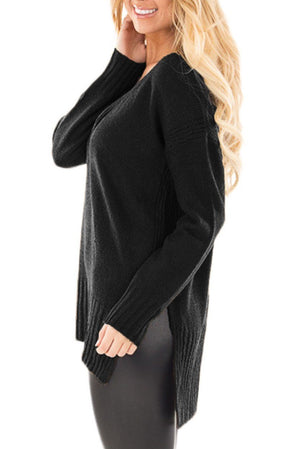 Black V Neck Crisscross Knit Sweater - Winter Haven Co
