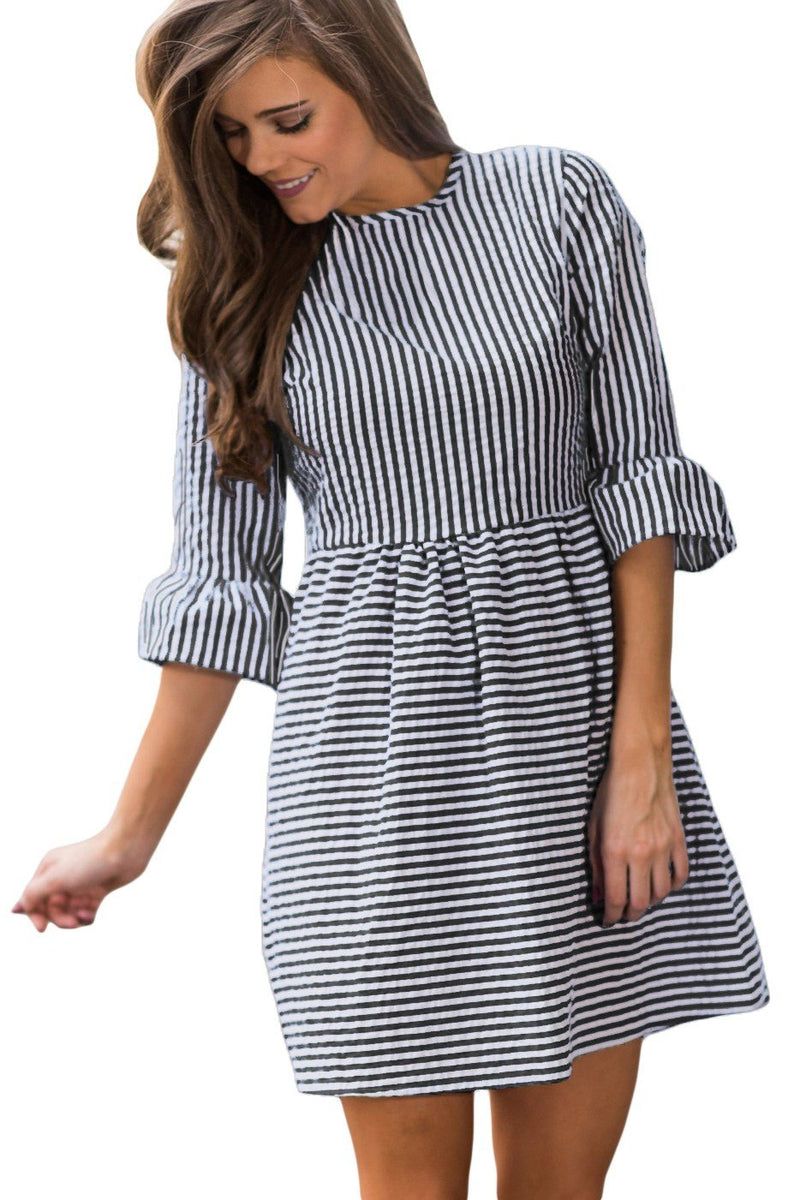 Black White Stripe Flounce Sleeve O-Neck Seersucker Dress - Winter Haven Co