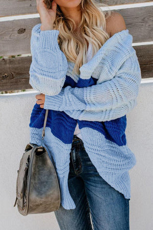Blue Colorblock Loose Fit Knit Cardigan - Winter Haven Co