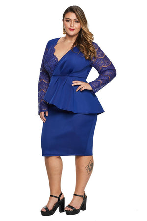 Blue Lace Stitching Surpliced V Neck Plus Size Formal Dress - Winter Haven Co