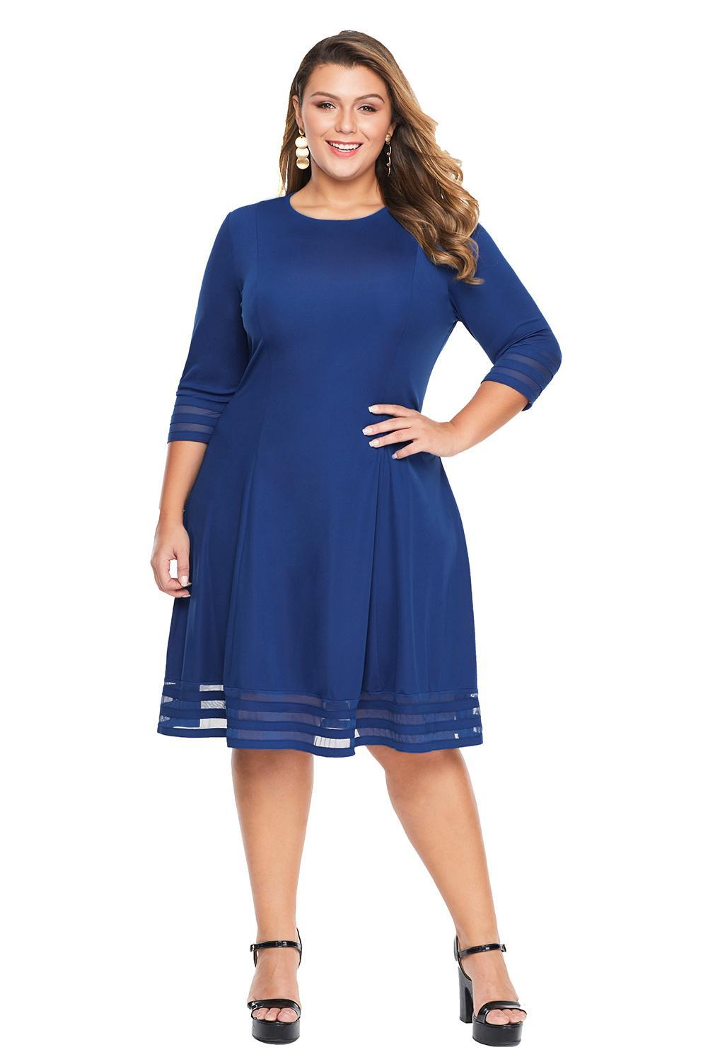 Blue Length Sleeve Gauze Patchwork Flare Plus Size Dress - Winter Haven Co
