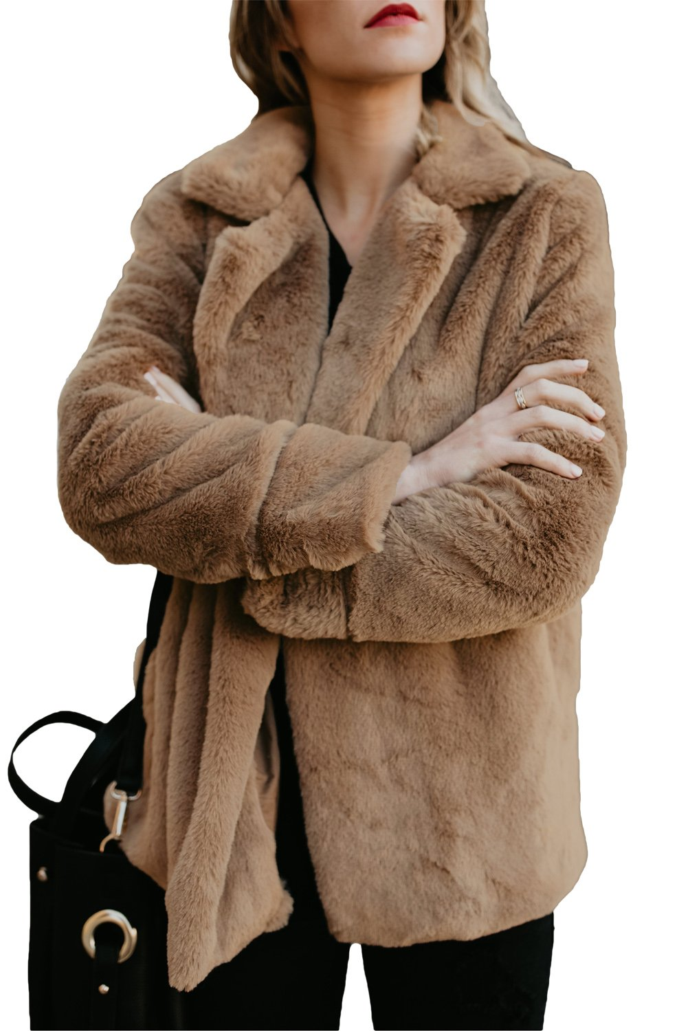 Brown Pocket Style Fluffy Winter Faux Fur Coat - Winter Haven Co