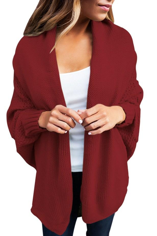 Chic Burgundy Chunky Knit Open Front Dolman Cardigan - Winter Haven Co