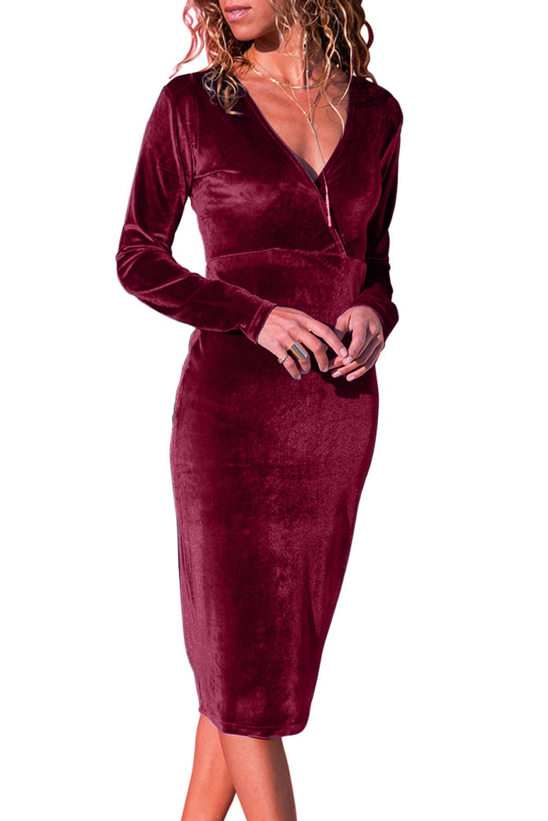Burgundy Long Sleeve V Neck Sleek Velvet Midi Dress - Winter Haven Co