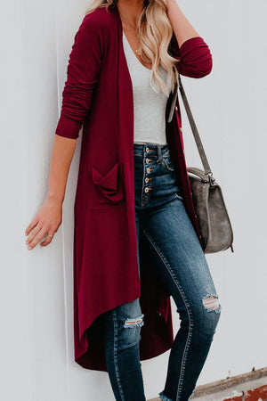 Burgundy Selected Button Down Pocketed Knit High Low Long Cardigan - Winter Haven Co