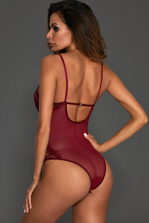Burgundy Sheer Mesh Lace Cupped Teddy Lingerie - Winter Haven Co