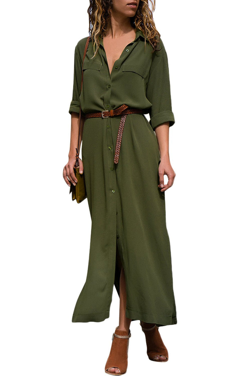 Casual Army Green Slit Maxi Shirt Dress with Sash - Winter Haven Co