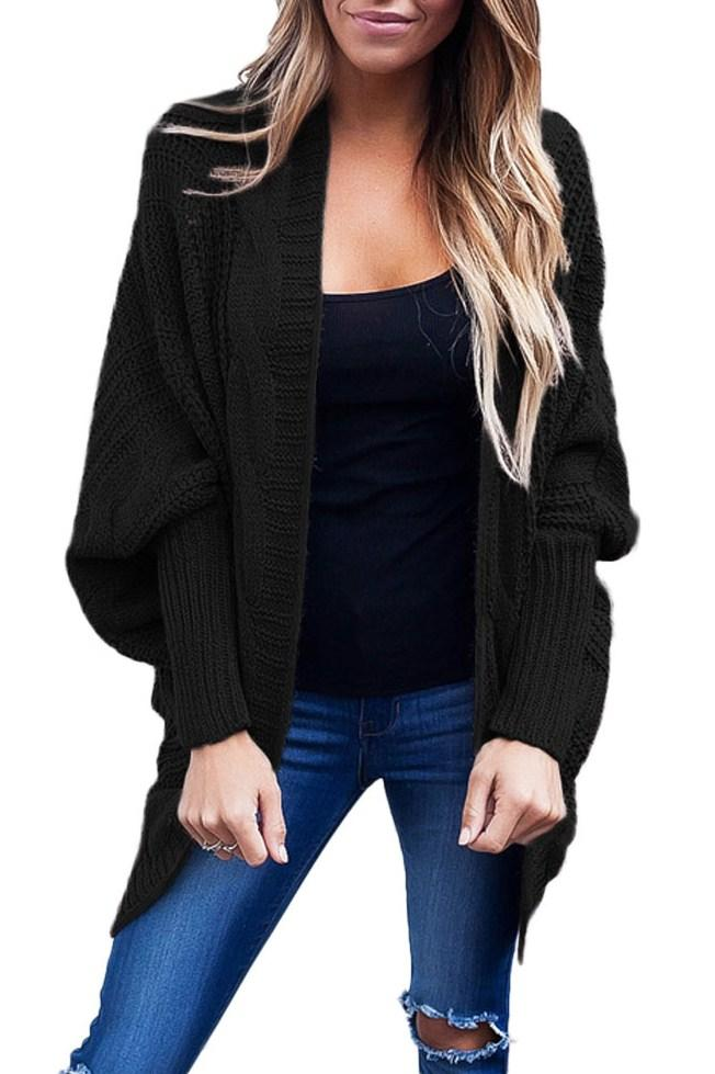 Casual Black Ribbed Cuffs Dolman Sleeved Open Cardigan - Winter Haven Co