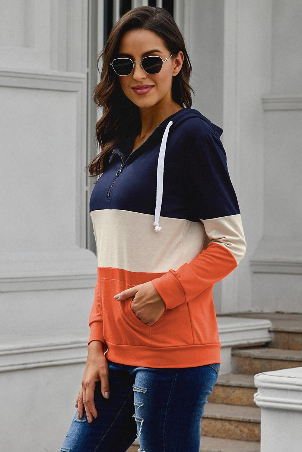 Casual Blue Orange Color Block Zipped Neck Hoodie - Winter Haven Co