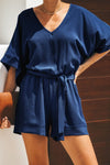 Casual Blue Spring Scene Pocketed Tie Romper - Winter Haven Co