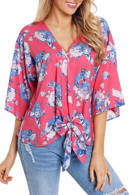 Casual Coral Flowery Print Tie Front Kimono Sleeve Blouse - Winter Haven Co