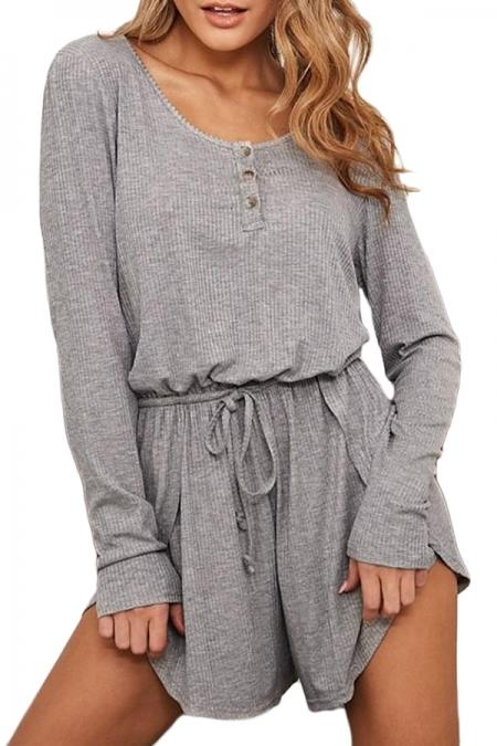 Casual Gray Ribbed Drawstring Waist Long Sleeve Romper - Winter Haven Co