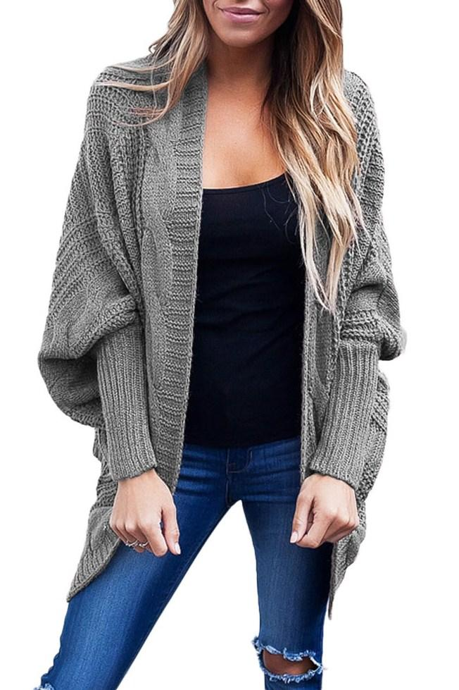 Casual Grey Ribbed Cuffs Dolman Sleeved Cardigan - Winter Haven Co
