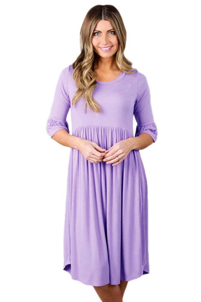 Casual Purple Ruffle Half Sleeve Midi Jersey Dress - Winter Haven Co
