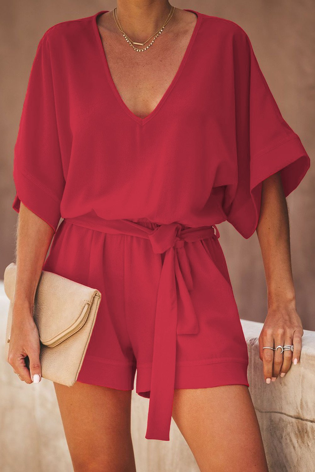 Casual Red Spring Scene Pocketed Tie Romper - Winter Haven Co