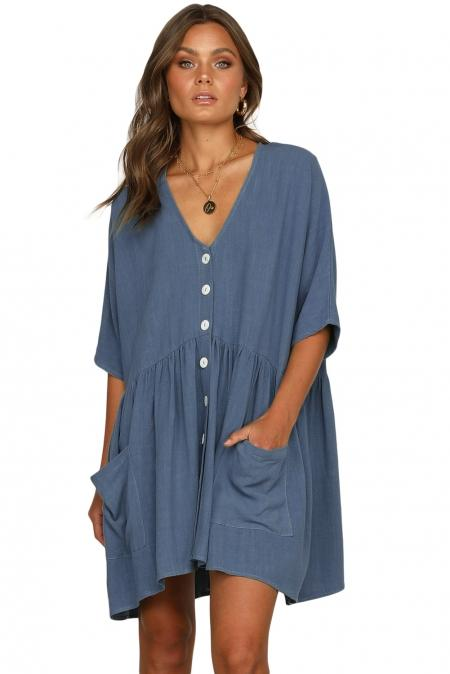 Casual Sky Blue Natural Beauty Dress - Winter Haven Co