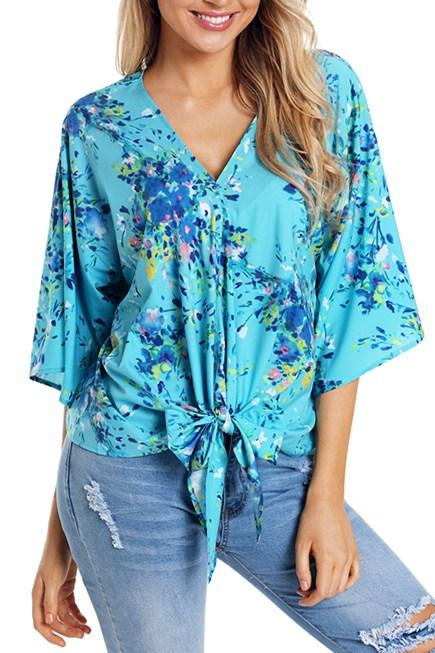 Casual Turquoise Flowerlet Print Tie Front Kimono Sleeve Blouse - Winter Haven Co