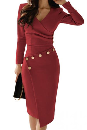 Chic Asymmetric Button Detail Burgundy Ruched Midi Dress - Winter Haven Co