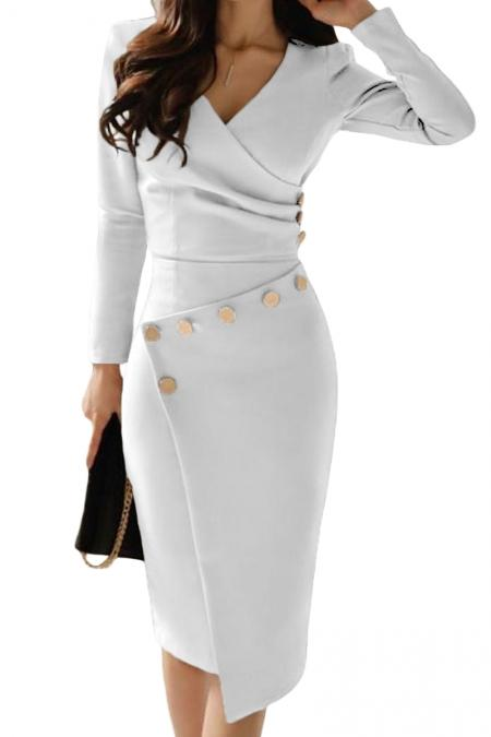 Chic Asymmetric Button Detail White Ruched Midi Dress - Winter Haven Co