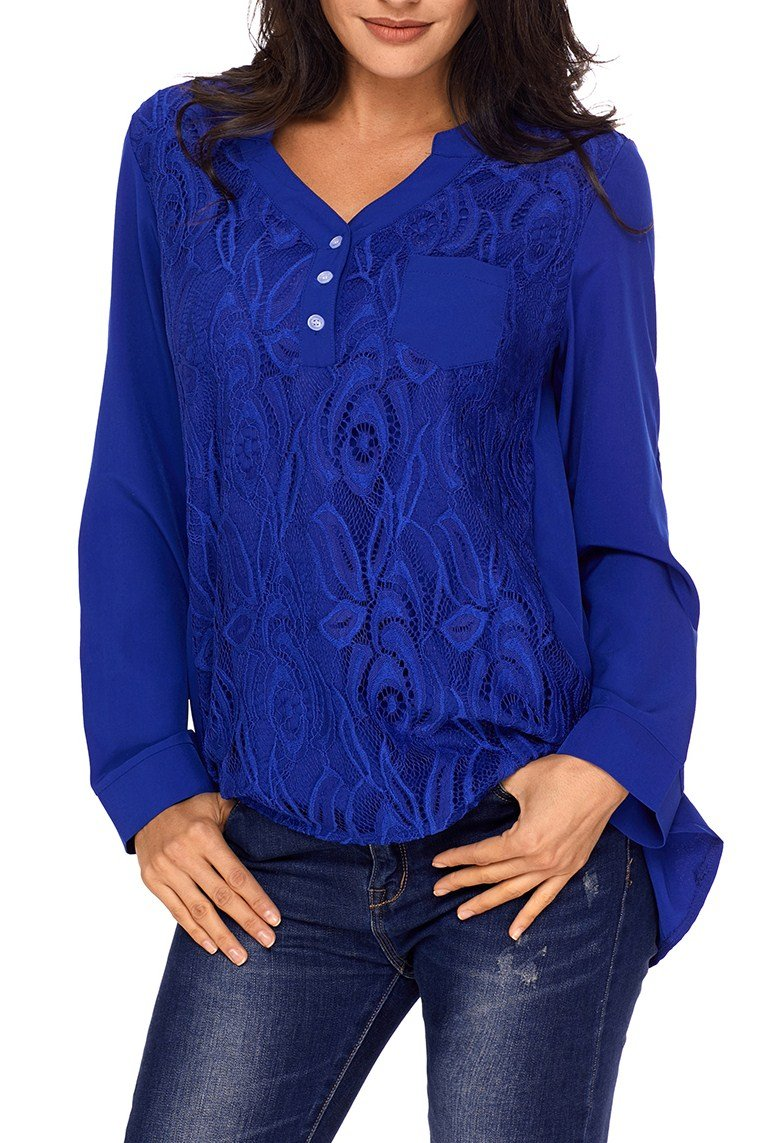 Chic Blue Lace Panel Split Neck Roll Tab Sleeve Blouse - Winter Haven Co