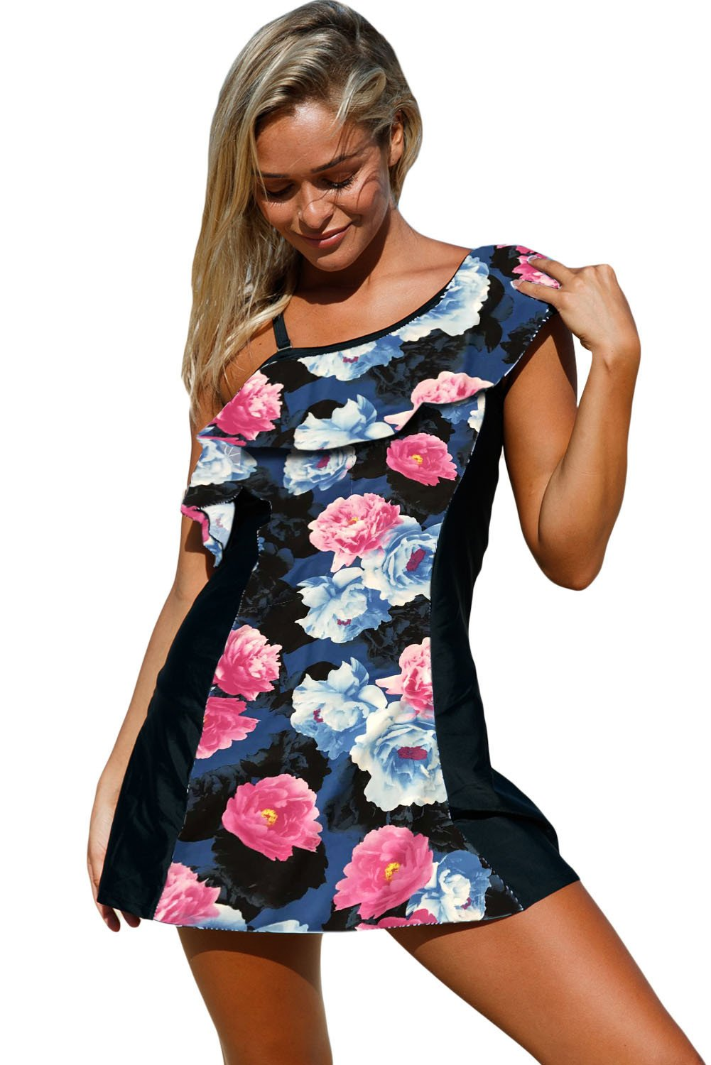 Chic Floral Print Ruffle One Shoulder Swim Dress with Shorts - Winter Haven Co