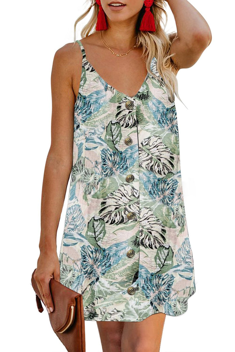 Chic Sky Blue Floral Pattern Buttoned Slip Cami Dress - Winter Haven Co