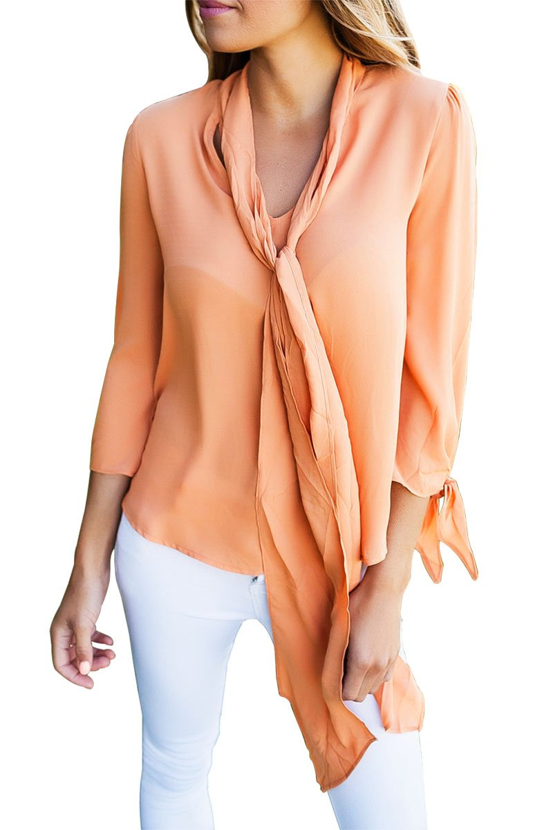 Classic Orange Bow-tie Long Sleeved Necktie Blouse - Winter Haven Co